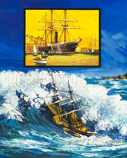"They Sailed the Seven Seas: A Trial of Strength (The Royal Mail Line). The ""La Plata"" caught in a tidal wave; inset: RMS Trent. Original artwork from Look and Learn no. 448 (15 August 1970)."