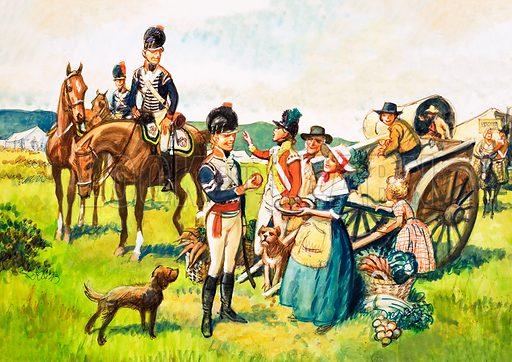 Soldiers offered apples. Original artwork.