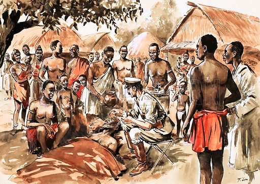Unidentified African village scene with doctor treating native. Original artwork from Treasure Annual 1970.