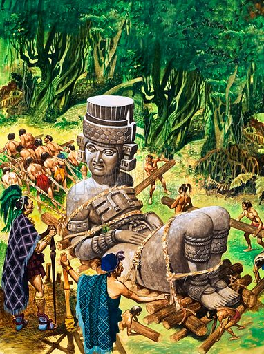 The First American Indians. The Mayans never learned to use animals as beasts of burden and hauled vast quarried building stone through the jungles themselves.