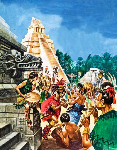 Mayan Cities. Colourful dancing at a Mayan temple.