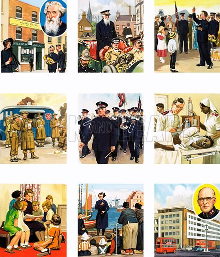 From Then Till Now: Soldiers of God. The story of the Salvation Army. Original artwork from Look and Learn no. 104 (11 January 1964). Originally published in black & white.