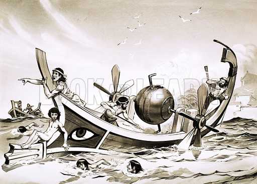 Unidentified Egyptian experimental boat with steam-powered paddles. Original artwork.
