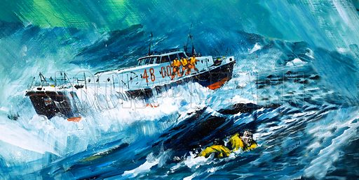 Lifeboat rescuing a man in the Sea. Original artwork.