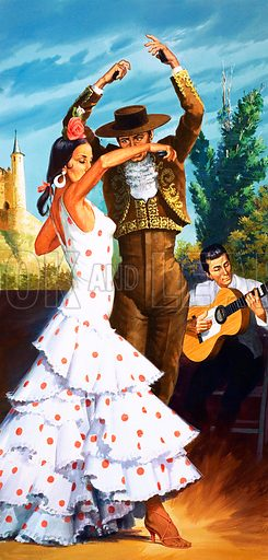 Dancing Round the World: Gipsy Joy and Sorrow. The Flamenco from Spain. Original artwork from Look and Learn no. 336 (22 June 1968; cut-down version as used in The Fifth Look and Learn Book of 1001 Questions and Answers).