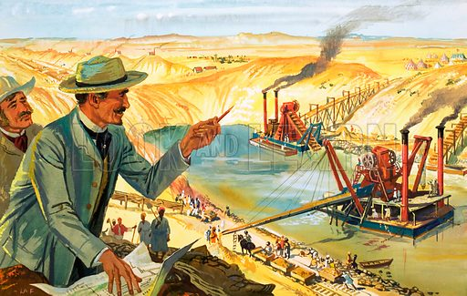Building the Suez Canal, Egypt, 1860s. Original artwork from Look and Learn no. 25 (7 July 1962).