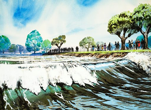 Famous Rivers -- The Severn: The Severn Bore. Original artwork from Look and Learn no. 290 (.