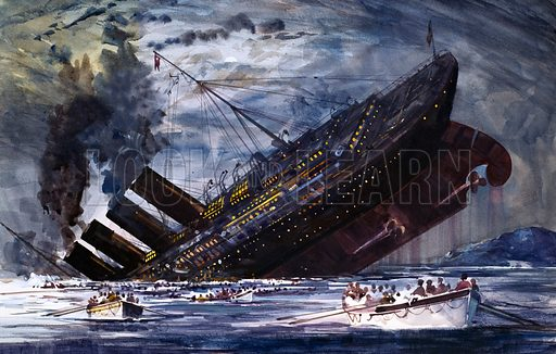 The Sinking of the Titanic. Original artwork from The Look and Learn Book of 1001 Questions and Answers 1981.