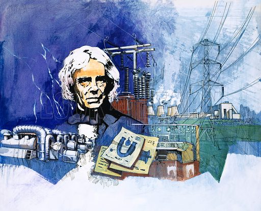 Michael Faraday with electrical power station in background. Original artwork for World of Knowledge annual 1982.