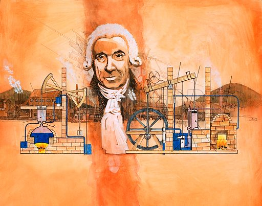 James Watt with kilns and mechanical pumps in background. Original artwork from World of Knowledge annual 1982.