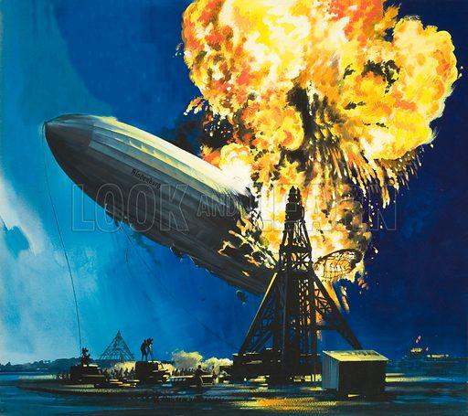 The destruction of the Hindenburg. Original artwork.
