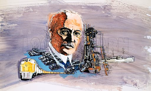 Rudolf Diesel against background of trains, boats and docks. Original artwork for World of Knowledge annual 1982.