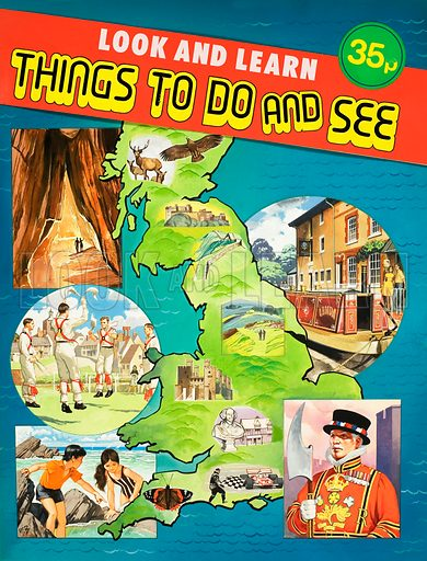 Montage of images set around map of Great Britain including caves, morris dancers, children exploring the beach, a canal boat and a beefeater. Original artwork for cover of Look and Learn Things to Do and See.