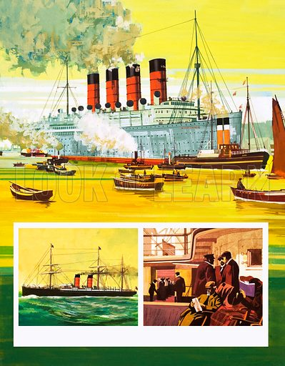 Unidentified passenger liner with inset, another steam powered ship and passenger area. Original artwork.