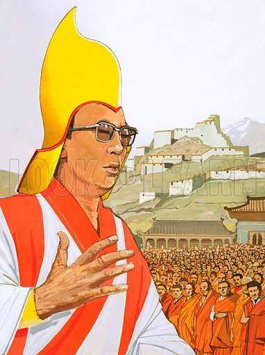Tibet Today: A Time for Change. The Dalai Lama. Original artwork from Look and Learn no. 995 (4 April 1981).