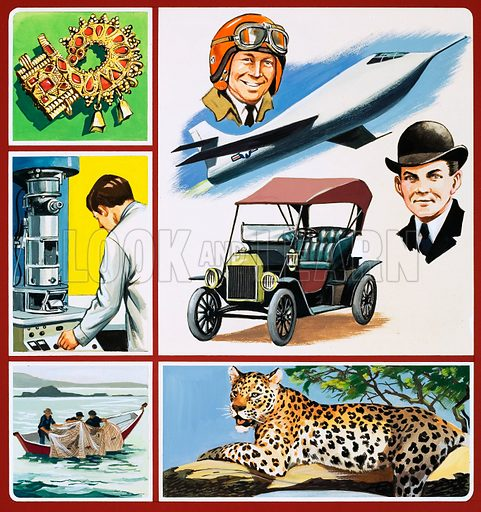 Montage of images including jewelry, a scientist at electron microscope, fishermen; leopard, a car and driver and a plane and pilot. Original cover artwork for World of Wonder Annual 1974.
