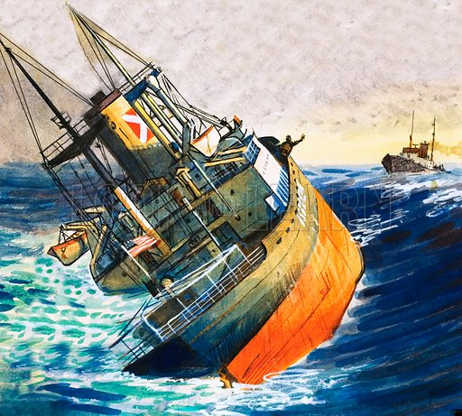 Unidentified boat in imminent danger of sinking. Original artwork.