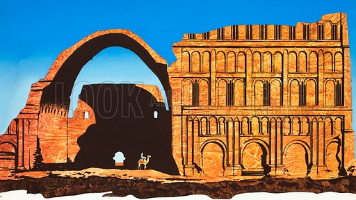 Unidentified historical building. Original artwork.