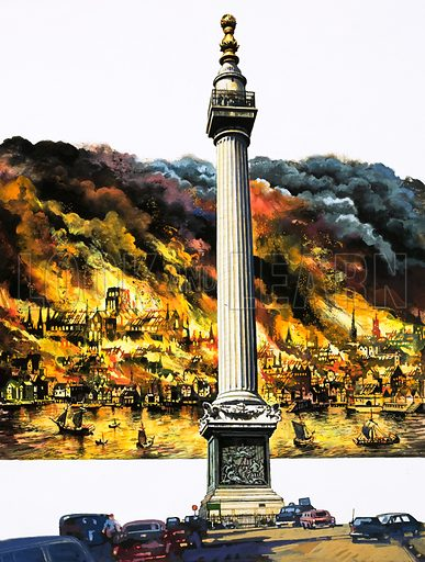 The Great Fire of London and The Monument. Original artwork.