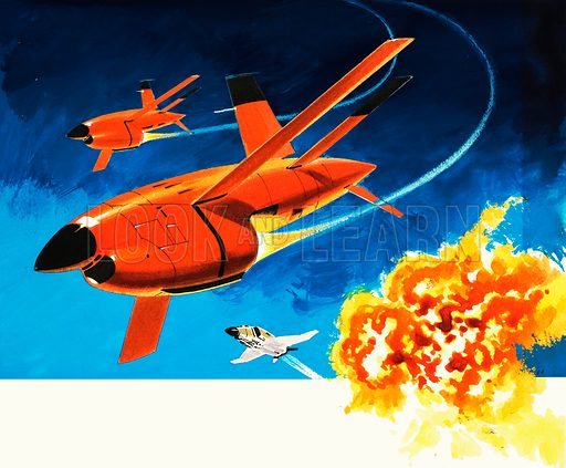 Into the Blue: the radio-controlled Firebee drone. Original artwork from Look and Learn no. 303 (4 November 1967).