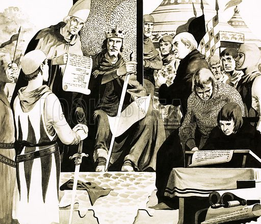 The General Election. King John hears the demands of barons and prepares to sign the Magna Carta at Runnymede. Original artwork from Look and Learn no. 132 (25 July 1964).