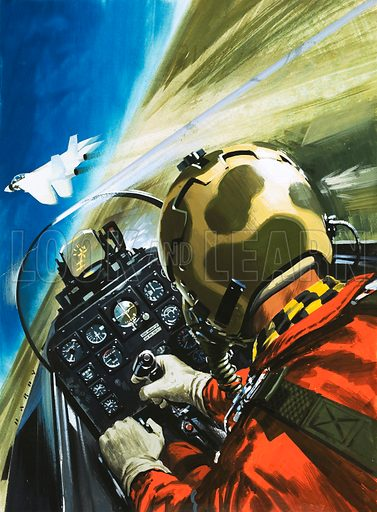 War in the Air – On the Ground. Flight simulators. Original cover artwork from Look and Learn no. 535 (15 April 1972.