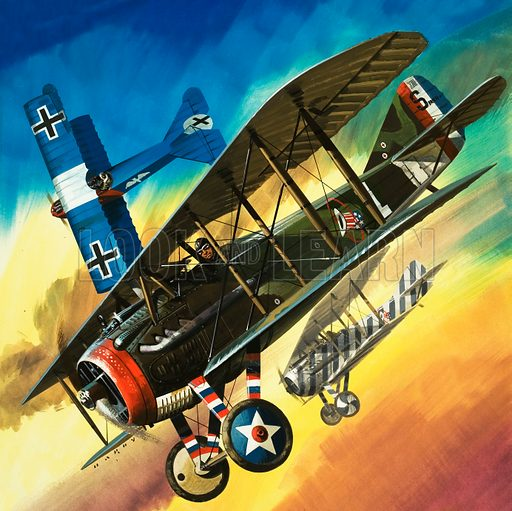 Freedom of the Skies: Yankee Super Ace. Edward Rickenbacker, the dogfight ace. Original cover artwork from Look and Learn no. 484.