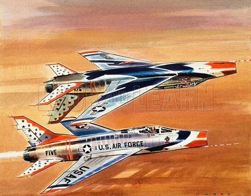 Into the Blue: Thunderbirds! The American equivalent of the Red Arrows. Original artwork from Look and Learn no. 319 (24 February 1968).