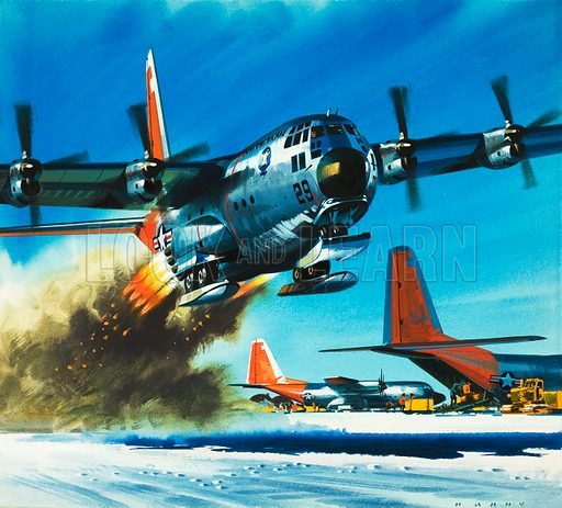 Into the Blue: South Pole Air Base. A Hercules transport plane. Original artwork from Look and Learn no. 356 (9 November 1968).
