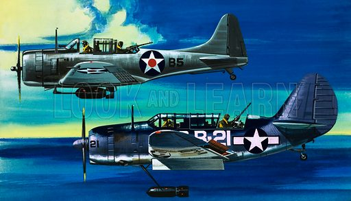 Into the Blue: American War-planes (1941–45). Douglas SBD-1 Dauntless (top) and Curtiss SB2C-1 Helldiver. Original artwork from Look and Learn no. 349 (21 September 1968).