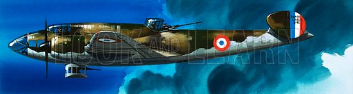 Into the Blue: French Aircraft of World War II. French bomber. Original artwork from Look and Learn no. 401 (20 September 1969).