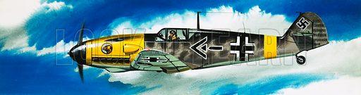 Into the Blue: German Aircraft of World War II. Messerschmitt fighter. Original artwork from Look and Learn no. 359 (30 November 1968).