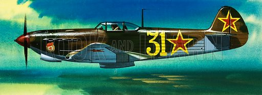 Into the Blue: Russian Aircraft of World War II. Russian Yakolev fighter. Original artwork from Look and Learn no. 384 (24 May 1969).