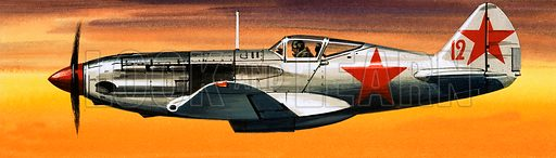 Into the Blue: Russian Aircraft of World War II. Russian Mikoyan-Gurevich fighter. Original artwork from Look and Learn no. 384 (24 May 1969).
