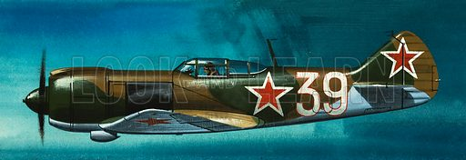Into the Blue: Russian Aircraft of World War II. Russian Lavochkin fighter. Original artwork from Look and Learn no. 384 (24 May 1969).