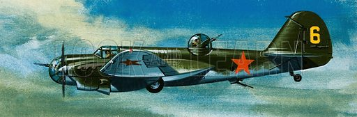 Into the Blue: Russian Aircraft of World War II. Russian Tupolev bomber. Original artwork from Look and Learn no. 385 (31 May 1969).