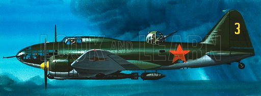 Into the Blue: Russian Aircraft of World War II. Russian Ilyushin bomber. Original artwork from Look and Learn no. 385 (31 May 1969).