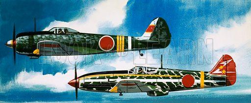 Into the Blue: Japanese Aircraft of World War II. Japanese Nakajima Hayate (top) and Kawasaki Toryu fighters. Original artwork from Look and Learn no. 371 (22 February 1969).