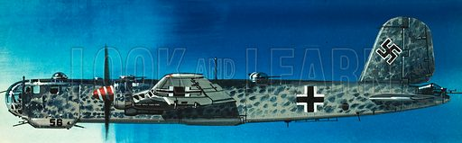 Into the Blue: German Aircraft of World War II. Focke-Wulf Condor bomber. Original artwork from Look and Learn no. 362 (21 December 1968).