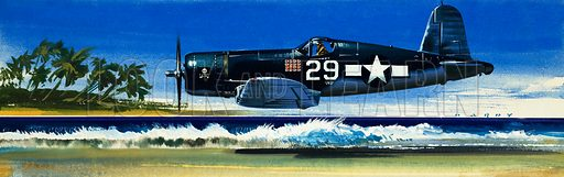 Into the Blue: American War-planes (1941–45). Chance Vought F4U-1A Corsair. Original artwork from Look and Learn no. 347 (7 September 1968).