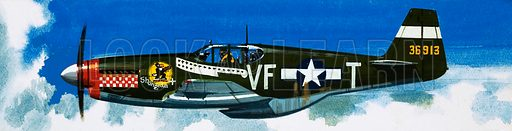 Into the Blue: American War-planes (1941–45). North American P-51B Mustang. Original artwork from Look and Learn no. 346 (31 August 1968).