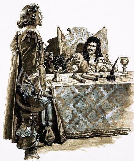In Search of Buried Treasure: Fortune in a Coral Cave. Charles II liked to gamble and the proposition of William Phips put to him seemed worth the risk. Original artwork from Look and Learn no. 956 (5 July 1980).