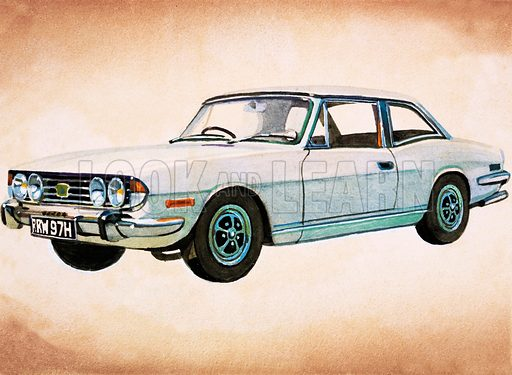 Triumph Stag. Original artwork from Look and Learn no. 468 (2 January 1971).