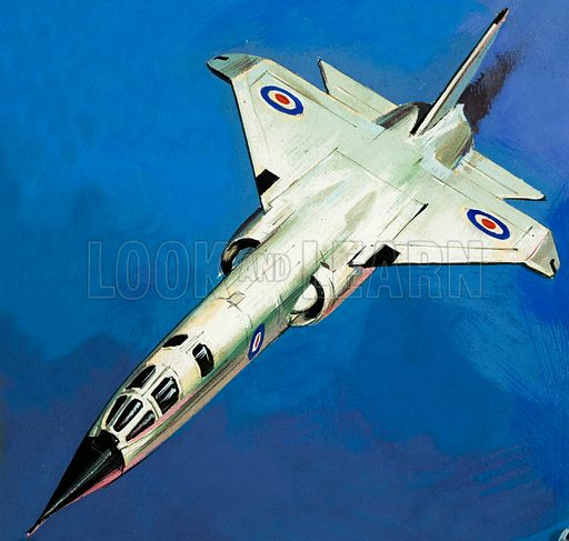 TR 2. Britain's new nuclear bomber. Original artwork from cover quiz for Look and Learn no. 142 (3 October 1964).
