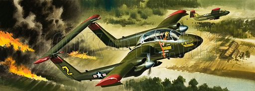 What's New in the Air? -- the latest developemnts in aircraft. COIN Counter Insurgency Aircraft. Original artwork from Look and Learn no. 182 (10 July 1965).