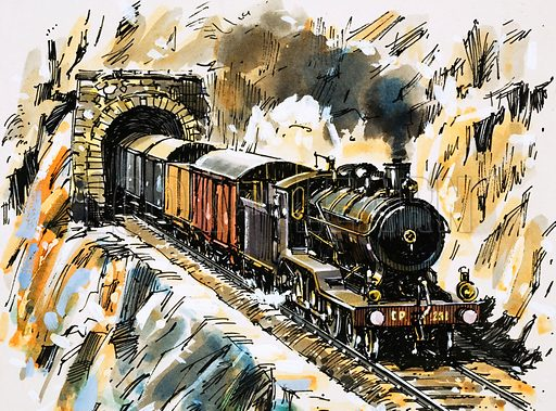 """The World of Speed and Power: Coming Round the Mountain… """"An inside-cylinder 4–6-0 emerges from a tunnel into the typically rugged Portuguese terrain."""" Original artwork from Look and Learn no. 851 (6 May 1978)."""