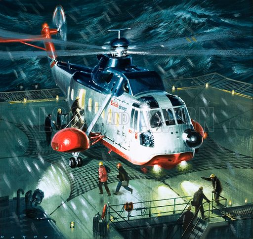 Danger Men of the Oil Fields. With wind and waves creating a screaming fury, a British Airways' S-61N lifts the last of the crew from a threatened rig in snow and darkness. Original artwork from Look and Learn Book 1979.