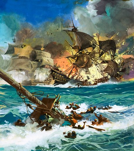 Unidentified sailing ship exploding. Original artwork.