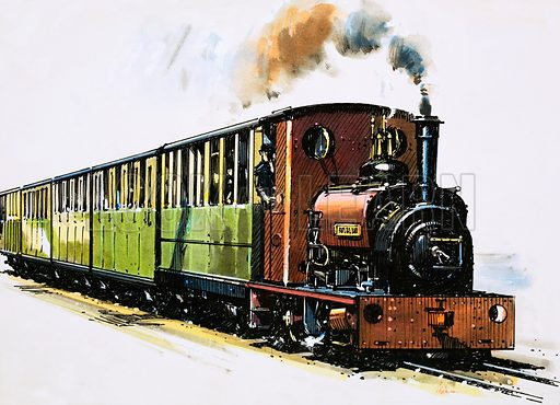 The World of Speed and Power: The Double-Barrelled Solution. This Hunslet 0–4-0 saddle tank, called Dolbadarn, can be see on the Llanberis Lake Railway. Original artwork from Look and Learn no. 846 (1 April 1978).