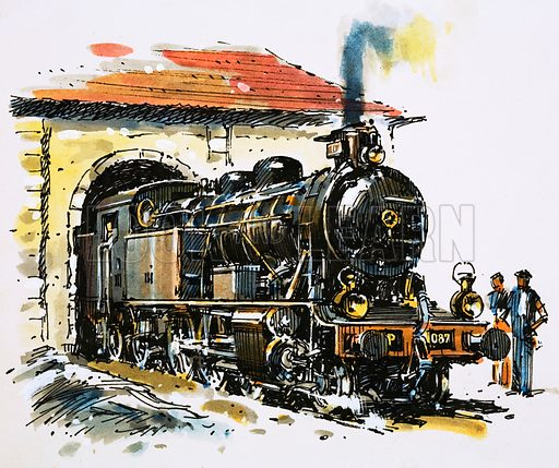 """The World of Speed and Power: Coming Round the Mountain… """"A Honschel constructed 2–6-4 tank locomotive of 1929 vintage leaves her picturesque shed for a day's work."""" Original artwork from Look and Learn no. 851 (6 May 1978)."""
